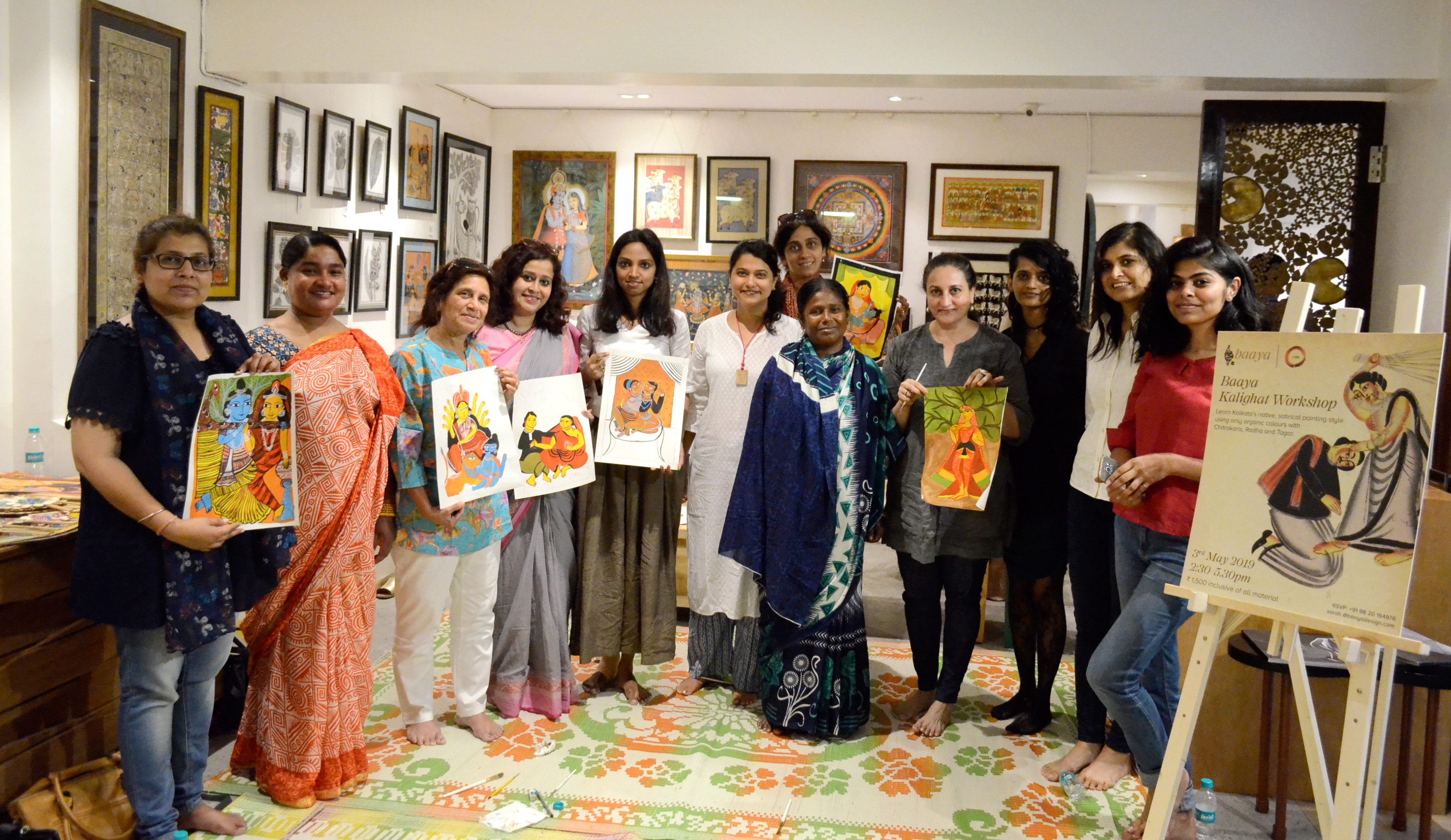 The participants pose with a few near complete masterpieces.
