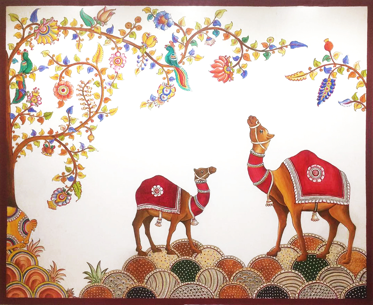 Camels have long been a symbol of resilience. This is a Kalamkari desert scene painted as a wall mural in the lobby area showing the qualities of the desert camel- hardy and persevering