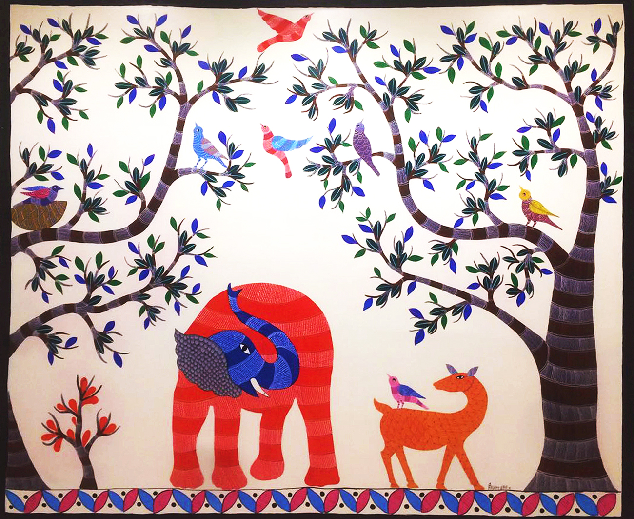 Gond forest scene was painted a wall mural. The qualities that the organisation was trying to communicate was portrayed by the corresponding animal breathing life into that quality. The gentle giant of the forest known for its intelligence- the Elephant has been shown.