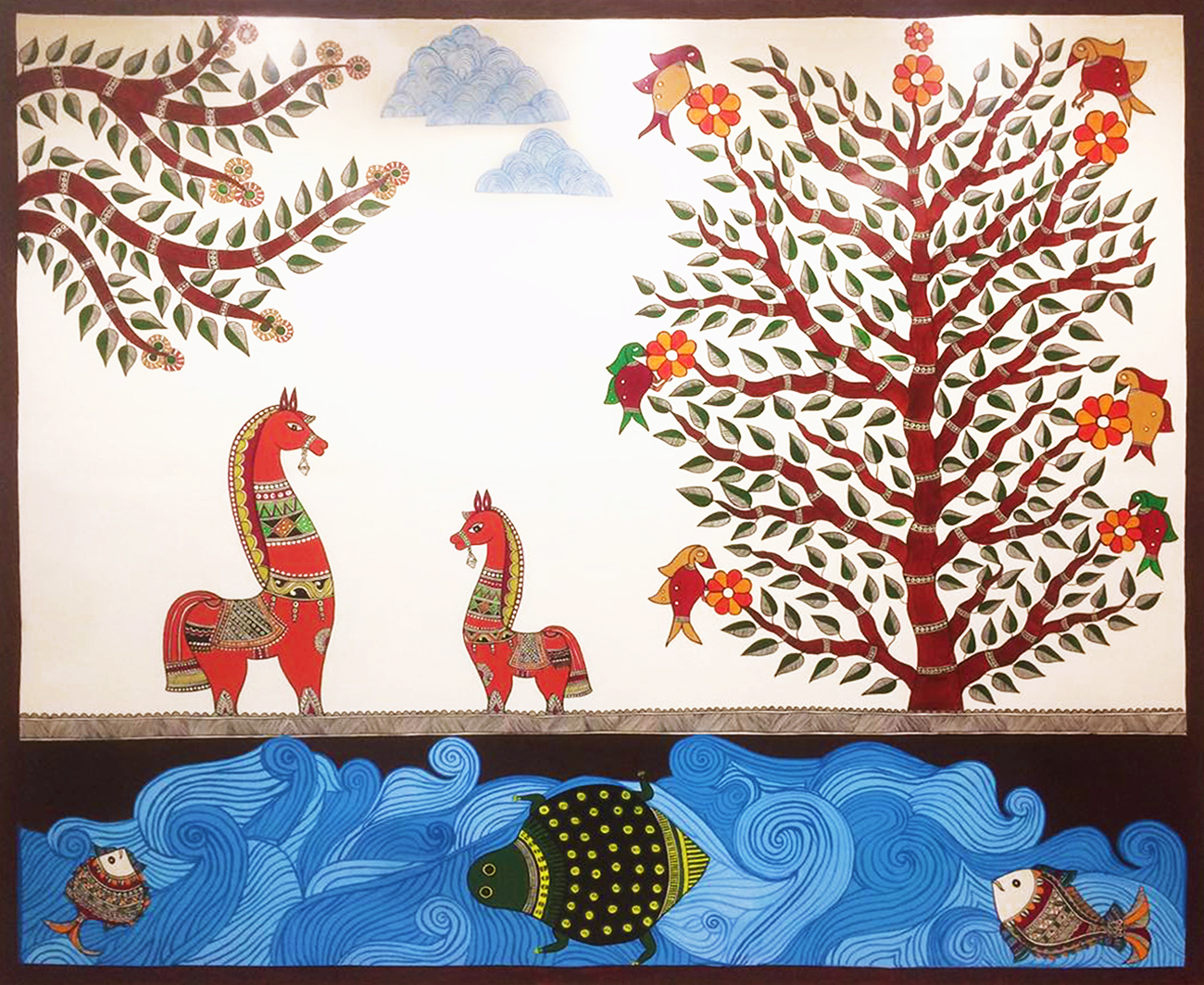 This is a Madhubani river scene with horses at the riverbanks, painted on the corridor wall.  Nobility and strength of the Horse are great qualities to emulate.