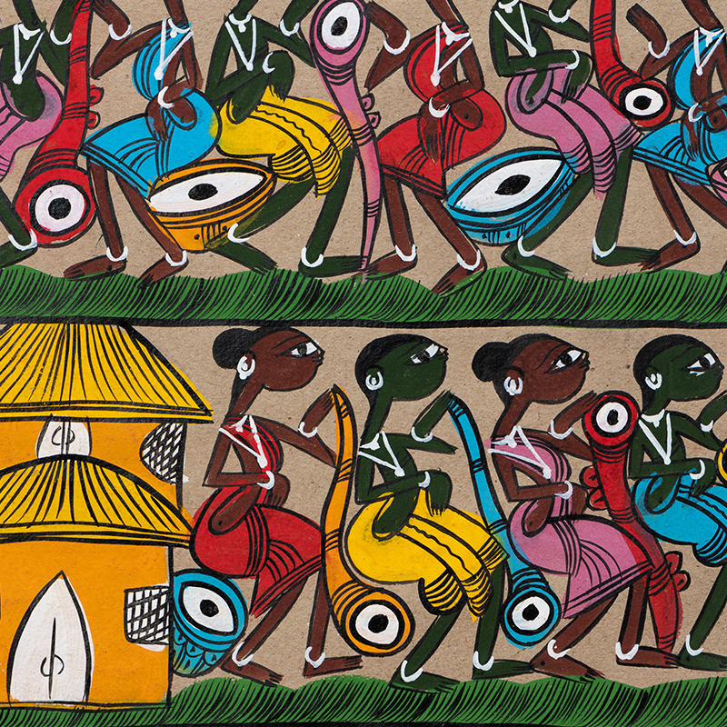 Tribal Painting India - Village Activities - Santhal Painting